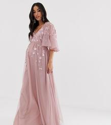 Сетчатое платье макси с рукавами клеш и вышивкой ASOS DESIGN Maternity-Розовый Asos Maternity 8145753
