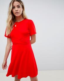 Чайное платье с рукавами клеш и запахом -Красный ASOS DESIGN 7765435