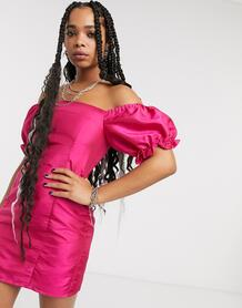 Платье мини в винтажном стиле с пышными рукавами -Розовый цвет Milk It 9255132