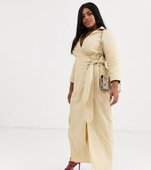 Фактурное платье макси с запахом -Коричневый Glamorous Curve 9086115