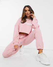 Розовый короткий свитшот от комплекта MISSGUIDED 9467089