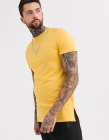 Желтая длинная футболка с круглым вырезом и разрезами по бокам -Желтый ASOS DESIGN 8992029