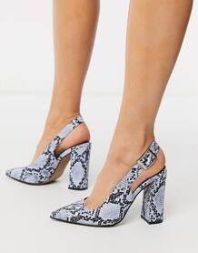 Голубые туфли на блочном каблуке со змеиным узором -Мульти ASOS DESIGN 9061785
