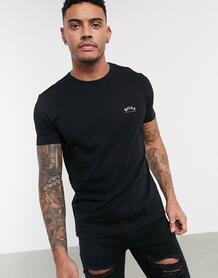 Черная футболка с маленьким логотипом на груди Tee Curved-Черный BOSS Athleisure 10025191