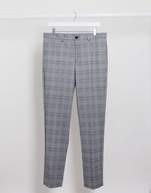 Серые узкие брюки в клетку -Серый SELECTED 9957951