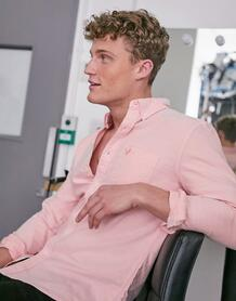 Розовая узкая оксфордская рубашка с логотипом -Розовый AMERICAN EAGLE 9881595