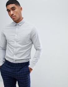 Серая оксфордская рубашка зауженного кроя -Серый ASOS DESIGN 7574586