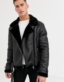 Куртка авиатор из искусственной кожи -Черный Barneys originals 8863554