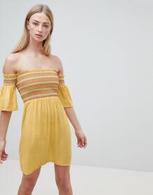 Платье с открытыми плечами и сборками Sunny-Белый Brave Soul 6929338