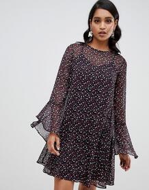 Свободное платье с принтом и расклешенными рукавами YAS-Мульти Y.a.s 7760744