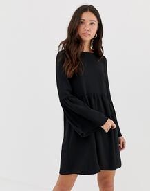 Свободное платье мини с рукавами клеш -Черный ASOS DESIGN 8201175