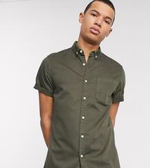 Эластичная приталенная джинсовая рубашка цвета хаки Tall-Зеленый ASOS DESIGN 8291225