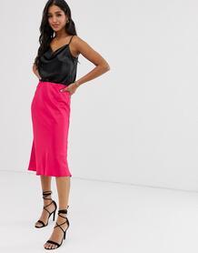 Ярко-розовая юбка миди косого кроя -Розовый River Island 8386952