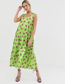 Зеленое платье миди А-силуэта с цветочным принтом -Зеленый Liquorish 8599183
