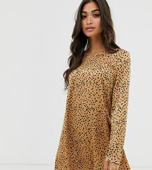 Свободное платье с длинными рукавами и принтом -Светло-коричневый Glamorous Petite 8769907