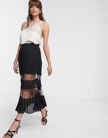 Черная плиссированная юбка миди с сеткой -Черный & Other Stories 8755395