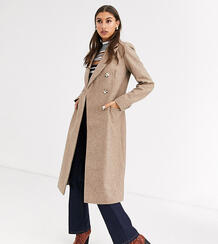 Длинное двубортное пальто -Коричневый Glamorous Tall 8806662