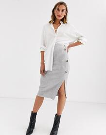 Серая трикотажная юбка с пуговицами -Серый River Island 8937286