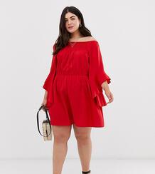 Платье с рукавами клеш и открытыми плечами AX Paris-Красный AX Paris Plus 8357013