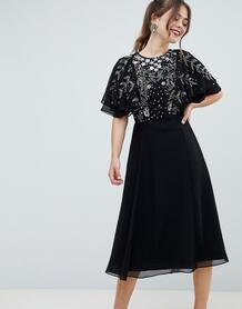 Платье миди с рукавами клеш и цветочной отделкой -Черный ASOS DESIGN 7506844