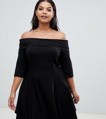 Короткое приталенное платье со спущенными плечами ASOS DESIGN Curve-Черный Asos Curve 7861772
