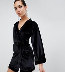 Черное бархатное платье мини с широкими рукавами -Черный Missguided Tall 7788694