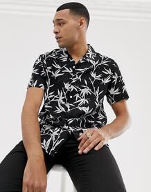 Черная рубашка классического кроя с отложным воротником и лиственным принтом -Черный New Look 8051951