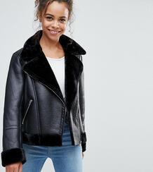 Черная куртка-авиатор -Черный Miss Selfridge Petite 6293538