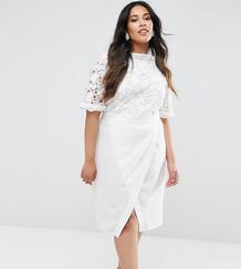 Платье-футляр с кружевным лифом и юбкой с запахом -Белый Truly You 6173941