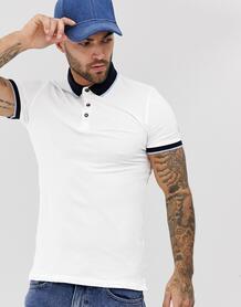 Белое обтягивающее поло с контрастной отделкой -Белый New Look 8320343