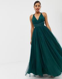 Премиум-платье для выпускного макси с ленточной завязкой -Зеленый ASOS DESIGN 7789160