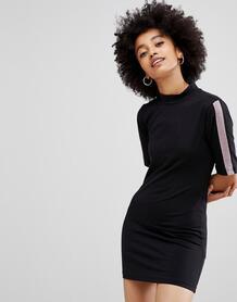Трикотажное платье с высоким воротом и блестящими полосками -Черный Chorus 7456149
