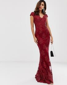 Кружевное платье макси со спущенными плечами и цветочным принтом -Красный City Goddess 8330105
