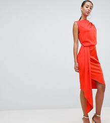 Атласное платье миди с драпировкой и поясом ASOS DESIGN Tall-Оранжевый Asos Tall 7304340