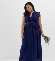 Темно-синее платье макси с кружевной отделкой -Темно-синий TFNC Plus 6985787