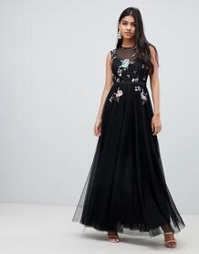 Черное платье макси с цветочной отделкой на топе -Черный Little Mistress 7495723