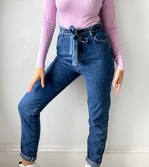 Синие джинсы с присборенной талией -Синий New Look Tall 10963976