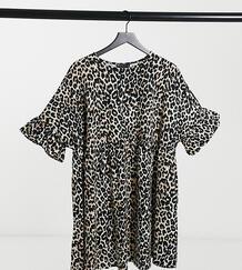 Свободное платье с широкими рукавами с оборками и леопардовым принтом ASOS DESIGN Curve-Мульти Asos Curve 10750698