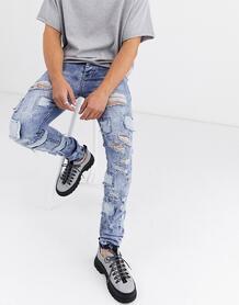 Синие зауженные джинсы с рваной отделкой и вставками -Синий Sixth june 9124652