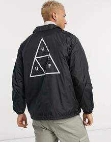 Черная спортивная куртка с принтом тройного треугольника Essentials-Черный цвет Huf 10446354