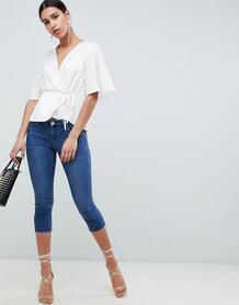Синие джинсы скинни с заниженной талией -Синий ASOS DESIGN 7117355