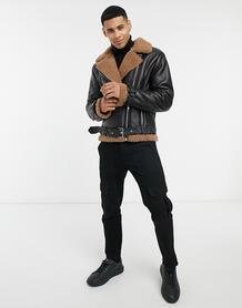 Черная куртка авиатор со светло-коричневой подкладкой из искусственного меха Barney's Originals-Черный цвет Barneys originals 10468949
