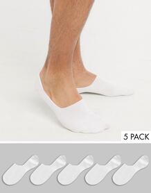 Набор из пяти пар белых невидимых носков -Белый Topman 10008051
