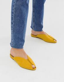 Балетки с открытым носком горчичного цвета Lido-Желтый ASOS DESIGN 8190696