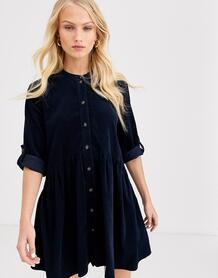 Вельветовое платье-рубашка мини -Темно-синий Only 8836695