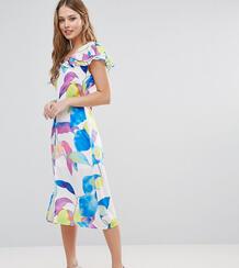 Платье миди с оборками и принтом -Мульти Every Cloud 5717581