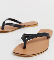 Черные кожаные шлепанцы для широкой стопы Florence-Черный ASOS DESIGN 8409531
