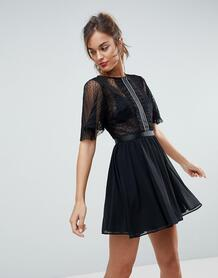 Платье мини из ткани добби с расклешенными рукавами и отделкой на вставке ASOS-Черный ASOS DESIGN 6565780