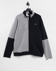 Черно-серый флисовый свитшот в стиле колор-блок на короткой молнии -Черный цвет Huf 10886170