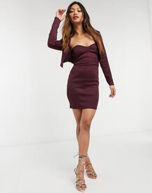 Платье-бандо мини «два в одном» спиджаком сливового цвета -Многоцветный ASOS DESIGN 10853774